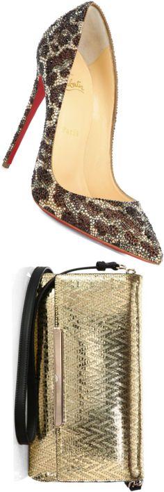 Christian Louboutin Kate Strass Swarovski Crystal Pumps and Christian Louboutin Metallic Flap Bag