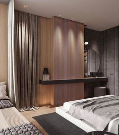 How to create an interior that immediately declares the status of the owner? Bedroom Furniture Design, Modern Bedroom Design, Master Bedroom Design, Bedroom Tv Wall, Home Decor Bedroom, Loft Design, Home Office Design, Tropical House Design, Hotel Interiors