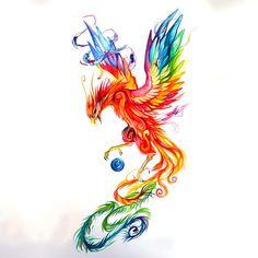 Colorful Phoenix Tattoo Design