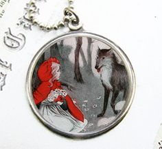 Little Red Riding Hood Pendant  with Chain by Arete on Etsy