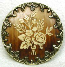pretty!! Antique Victorian Celluloid Button Gorgeous Floral w Fancy Brass Border 1 & 7/16