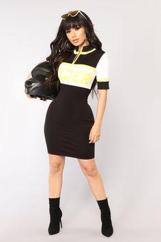 Rider Colorblock Dress - Black/Yellow