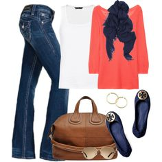 coral and navy outfit - coral top / dark jeans / navy scarf / navy tory burch flats / toms sunglasses