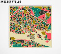 STOCKHOLM Map Giclee Fine Art Print Wall Art Home by JazzberryBlue, $29.00