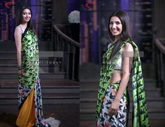 """Ordered this gorgeous sari from Feeha Jamshed called the """"Husk Sari'…because it has elephants all over it! It's chamois silk and a cotton silk white blouse with black lining. OBSESSED! Love elephants and saris!"""