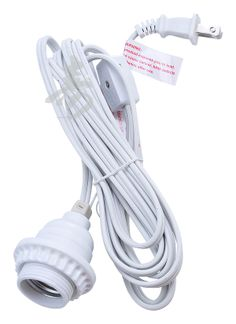 Perfect Single Socket White Pendant Light Lamp Cord For Lanterns, 11 FT, UL Listed
