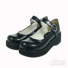 Lolita Shoes Black White 34-44 High Heel Platform Straps With Buckles PU Lolita Shoes