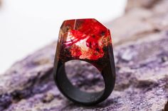 Fire wooden resin ring Eco epoxy jewelry Green Wood the secret