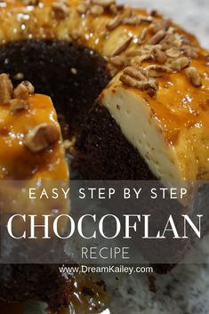 """This Easy Step-by-step CHOCOFLAN recipe is a foolproof way to make """"impossible cake""""! The perfect combination of Mexican Flan and Mexican Flan, Mexican Dessert Recipes, Mexican Cakes, Cuban Recipes, Authentic Mexican Recipes, Köstliche Desserts, Delicious Desserts, Yummy Food, Filipino Desserts"""