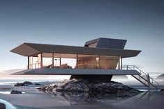 modern architecture design The Monolit Beach House Keeps You Riding the Waves Architecture Sketchbook, Modern Architecture Design, Futuristic Architecture, Modern House Design, House Architecture, Architecture Portfolio, Architecture Graphics, Victorian Architecture, Glass House Design