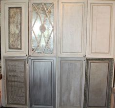 Love the mercury glass/aged mirror finish in the 2nd from the left in the top row.  So pretty on a kitchen cabinet
