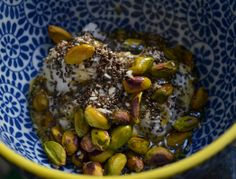 Perfect for Pistachio Day! -Greek Yogurt with Honey-Pistachio-Coconut Topping - Three Many Cooks
