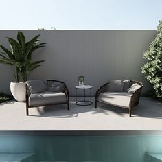 Leaving room around you pool are for relaxed seating is a must in our books. Pool side relaxing and dining never looked better. Swimming Pool Designs, Swimming Pools, Entertainment Furniture, Outdoor Entertaining, Entryway Bench, Landscape Design, Spaces, Dining, Books