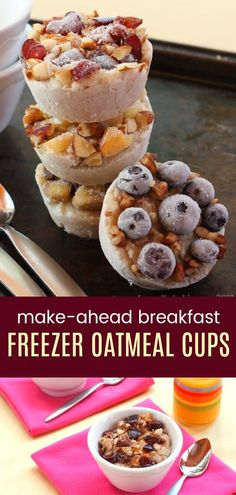 Frozen Oatmeal Cups – Meal Prep Breakfast – Cupcakes & Kale Chips Make Ahead Breakfast Oatmeal Cups – meal prep a healthy breakfast when you customize these easy DIY freezer oatmeal cups with your favorite toppings. Make Ahead Oatmeal, Healthy Make Ahead Breakfast, Breakfast On The Go, Make Ahead Meals, Breakfast Recipes, Snack Recipes, Breakfast Ideas, Healthy Recipes, Breakfast You Can Freeze