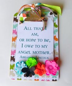Looking at Mothers Day crafts and it makes me sad I wont be doing anything for my mom. . .but then I came across this. I think I'll make myself something with this quote (and my brother even read it at her service) to hang somewhere special in my house!
