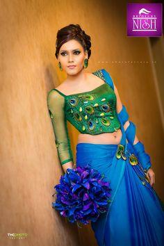 Sri Lankan Fashion Saree Jacket Designs, Saree Blouse Patterns, Sari Blouse, Saree Styles, Blouse Styles, Wedding Guest Hairstyles, Satin Saree, Bridal Blouse Designs, Dress Makeup