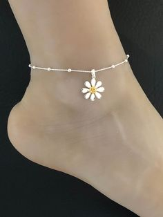 Ankle Bracelet Silver Stretch Flower Design Boho Bijoux Festival Easy Fit 24cm