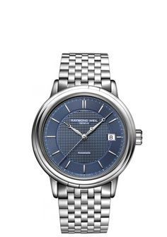 1c9c0c7c2c6 Maestro 2837-ST-50001 Mens Watches - Automatic date Steel on steel blue  dial. Raymond WeilSwiss ...