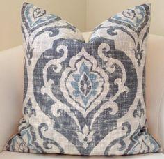 Blue Gray Pillow Cover Throw Pillow Ikat Pillow by nestables