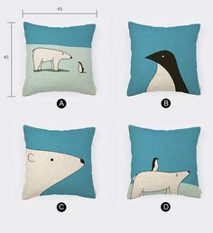 Linen Cotton Pillow Cover Polar Bear & Penguin by homeandlifestyle, $18.00