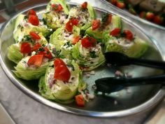 Mini wedge salads for a cook-out.  Finger food salad....LOVE this idea!