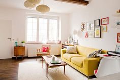 yellow sofa with tan walls | ... With Yellow Sofa And Sleek Coffee Table Also Neutral Wall Color Photos