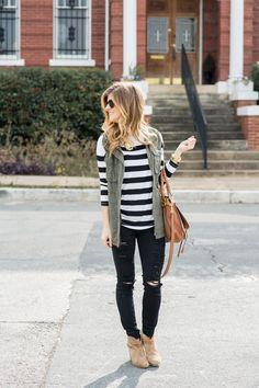 distressed black jeans + striped tee + military jacket