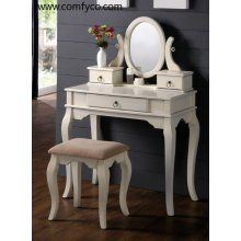 Poundex F4064 Antique White Finish Make Up Vanity Mirror Bench Small Bedroom