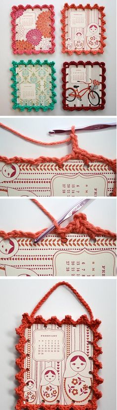 别致的相框 fun idea. Print patterns on card stock. Punch small holes on sides and pick a crochet fringe you like. Crochet around pic and add single loop crochet for handle. I would punch holes as you go just so you can get an idea of your gage first. Just an idea.