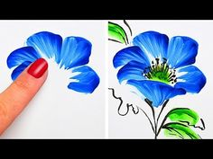 Kunst Zeichnungen - Flower painting This video shows step by step instruction on how to make flower . Acrylic Painting Techniques, Painting Lessons, Drawing Techniques, Painting Hacks, One Stroke Painting, Finger Painting, Body Painting, Youtube Drawing, Simple Flowers