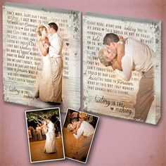 I want canvases of our first dance and the lyrics to the song! Love it! First Dance Song Lyrics with Wedding Photos by DesignerCanvases, $200.00