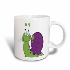 3dRose Happy Cartoon Colorful Snail With Flower, Ceramic Mug, 11-ounce