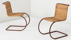 LUDWIG MIES VAN DER ROHE Pair of chairs, model no. MR 10, circa 1930 Painted tubular steel, woven cane. 31 5/8 x 18 1/4 x 29 3/4 in. (80.3 x 46.4 x 75.6 cm) Manufactured by Gebrüder Thonet, Germany.