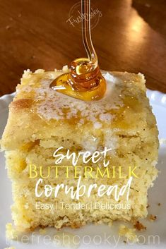 This recipe for Sweet Buttermilk Cornbread is deliciously moist, with a slightly sweet and tender crumb; serve warm dripping with butter and honey. Is a great side with chili, soups or stews. Perfect for Halloween night along with a bowl of chili. Moist Cornbread, Buttermilk Cornbread, Buttermilk Recipes, Sweet Cornbread, Moist Honey Cornbread Recipe, Cornbread Recipes, Cornbread Muffins, Biscuit Bread, Biscuit Recipe