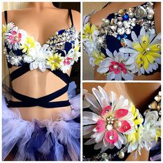EDC inspired Daisy Flowers rave outfit with rhinestone gem, Costume For EDC, Electric Daisy Carnival, Ultra, EDM Festivals, Tomorrowland on Etsy, $125.00