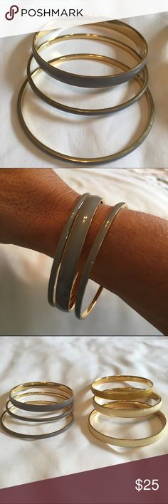 J Crew grey and gold bangles Grey and gold bangles bundle from J Crew in various sizes. Great condition 😊 selling for my mom, no trades sorry! J. Crew Jewelry Bracelets