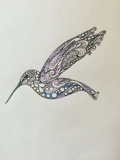 Hummingbird Original Zentangle Art Hand by TheChaoticPawPrints Hummingbird Colors, Hummingbird Drawing, Colorful Hummingbird Tattoo, Zentangle Patterns, Zentangles, Body Art Tattoos, New Tattoos, Bird Outline, Tattoos With Meaning
