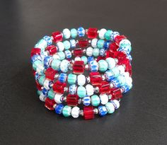 memory wire wrap bracelet red white blue by SurrealMythDesigns