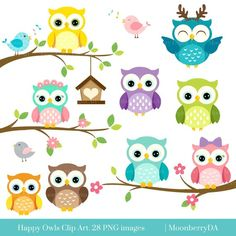 Birthday box template etsy new Ideas Owl Png, Owl Birthday Invitations, Happy Owl, Owl Clip Art, Image Clipart, Birthday Box, Scrapbooking, Scrapbook Kit, Cute Owl
