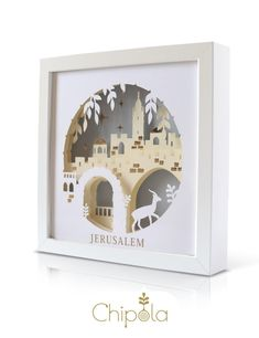 Jerusalem judaica art decor, paper art, paper craft with LED light battery powered. Jewish art from Israel. Paper Wall Art, Paper Artwork, Fine Art Paper, Framed Artwork, Jewish Crafts, Jewish Art, Paper Cutting, Diy Pour Enfants, Arte Judaica
