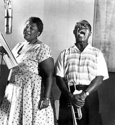 Louis Armstrong and Ella Fitzgerald with a Telefunken U47, Circa 1957