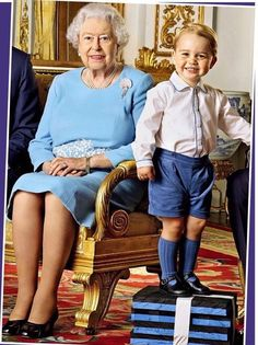 cambridgeroyal: Prince George Poses with Queen Elizabeth, Prince Charles & Prince William for new postage stamp