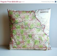 Missouri State map pillow 16 inch, 41cm.