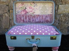 Dog Bed Vintage Suitcase...... $150.00, via Etsy.