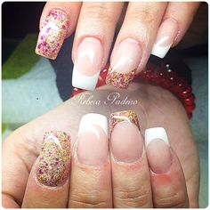 Acrylic Nails (French and gold/pink glitter)