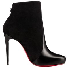 Pre-owned Christian Louboutin Gaetanina 100 Ankle Size 37 Black Boots (€840) ❤ liked on Polyvore featuring shoes, boots, ankle booties, heels, ankle boots, black, black heeled boots, black leather espadrilles, black high heel boots and black heel booties
