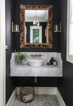 Park and Oak bathroom design with dark paint and elegant details Craftsman Bathroom, Oak Bathroom, Modern Bathroom Decor, Bathroom Interior Design, Bathroom Flooring, Decor Interior Design, Small Bathroom, Bathroom Ideas, Bathroom Beach