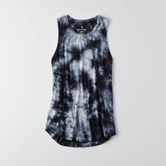 AEO Soft & Sexy Drapey Tank ($20) ❤ liked on Polyvore featuring tops, high neck tank, drapey top, tie dye tank top, tie dyed tank tops and tie-dye tops
