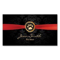 Red Ribbon Dark Damask Pet Sitting Business Card