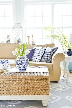 This Blue and White Spring Living Room Tour will show you how to incorporate this classic color scheme and decor elements in a fresh, relaxed and updated way for spring.